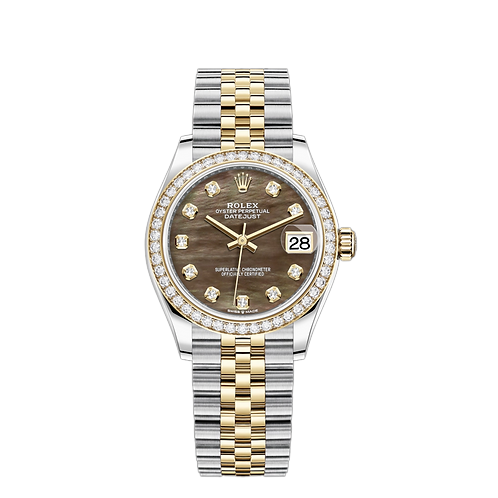Rolex DATEJUST 278383RBR, 黃金鋼錶殼, 鑲有鑽石外圈, 黑色珍珠母鑲有鑽石錶面.
