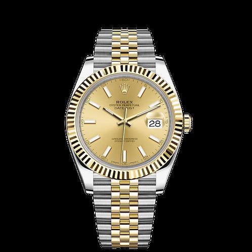 Rolex DATEJUST 126333, 黃金鋼錶殼, 三角坑紋外圈, 香檳色錶面.