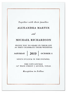 An elegant, minimalist black and white wedding invitation with a rose gold border.