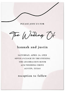 A neutral, beige abstract watercolor pattern decorates this trendy and subtle wedding invitation.