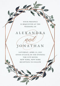 A rose gold geometric wedding invitation with watercolor botanical greenery
