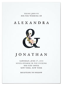 This elegant wedding invitation features a modern black ampersand with blush pink and black watercolor floral.
