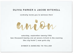 A simple and minimalist wedding union invitation featuring modern gold script typography.