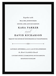 An elegant, minimalist black and white wedding invitation inspired by the world of fashion