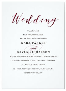 An elegant burgundy color makes the stylish callgraphy on this wedding invitation a classy and moden choice.