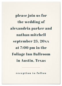 Bold charcoal blue text on a simple, cream colored background makes this minimalist wedding invitation really stand out.