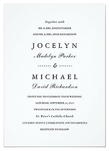 A simple, minmalist wedding invitation with classy black ad white text.