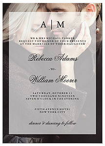 A minimalist, modern wedding invitation with your personal photo and a sheer overlay with monograms.