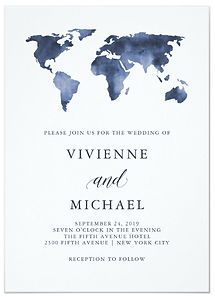 A perfect choice for a destination wedding, this stylish wedding invitation features a blue, watercolor world map.