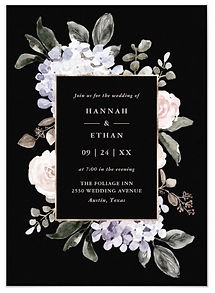 This dramatic black floral wedding invitation features lovely blush pink and purple hydrangea, roses, and peony flowers and gold.