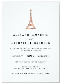 This elegant wedding invitation features a chic, rose gold image of the Eiffel Tower, Paris