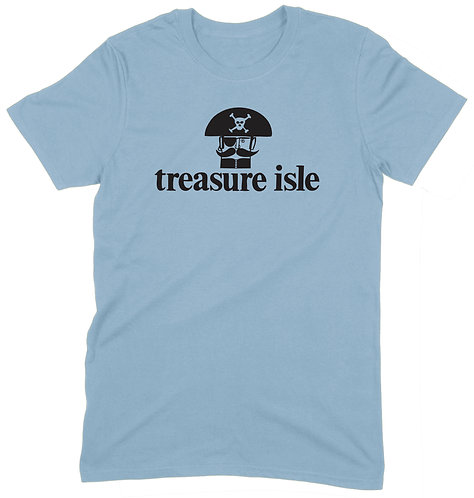 Treasure Isle Pirate T-Shirt - LARGE / LIGHT BLUE / ORGANIC STANDARD