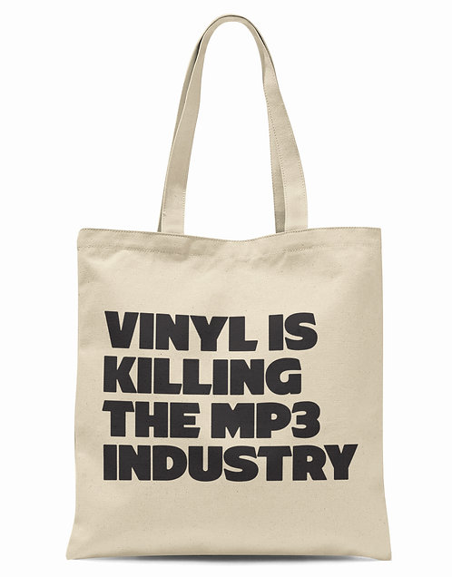 Vinyl Is Killing The MP3 Industry Organic Cotton Tote Shopper Bag