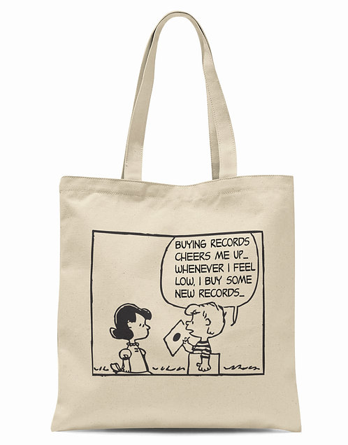 Buying Records Cheers Me Up Organic Cotton Tote Shopper Bag