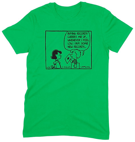 Buying Records Cheers Me Up T-Shirt - XL / GREEN / ORGANIC STANDARD WEIGHT