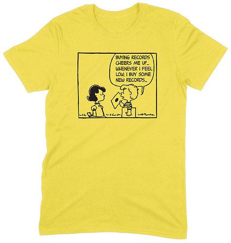 Buying Records Cheers Me Up T-Shirt - MEDIUM / YELLOW / ORGANIC STANDARD WEIGHT