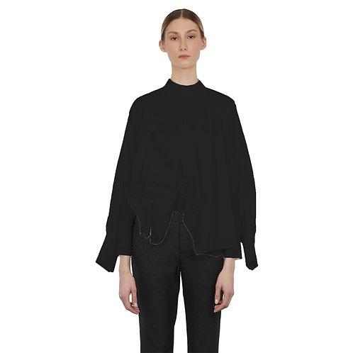 Batwing-sleeves top in wool