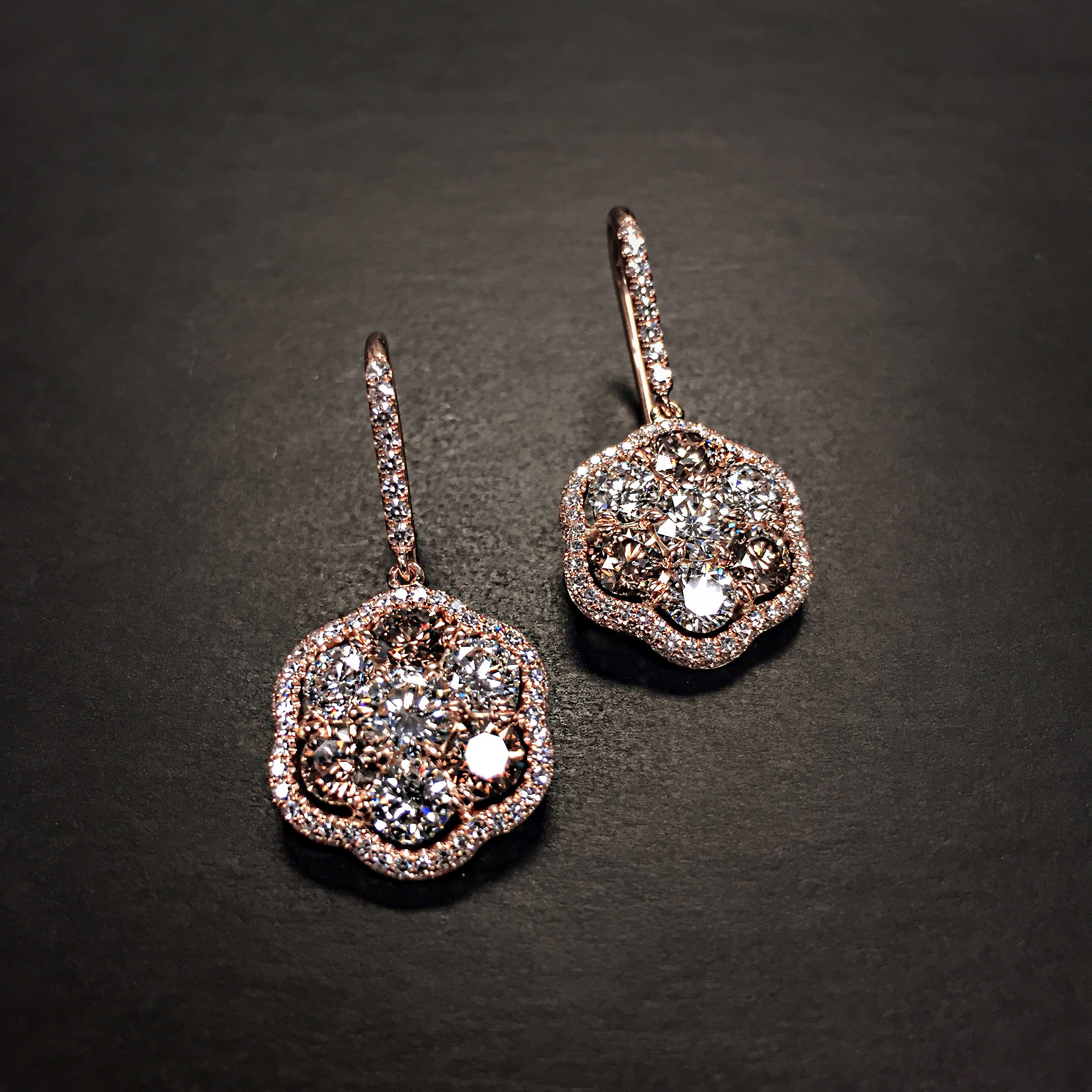 by pav earrings featuring rough pin in diamonds diamond drop with the micro champagne accented gold jewelry of fashion bubbles white