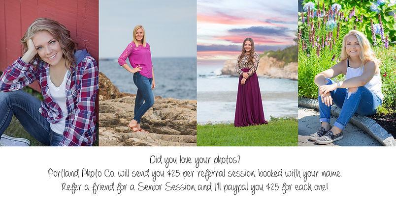 Senior Portrait Referral Program Maine Photograher