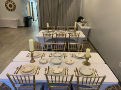 Tables with Chiavari chairs and vintage china_3