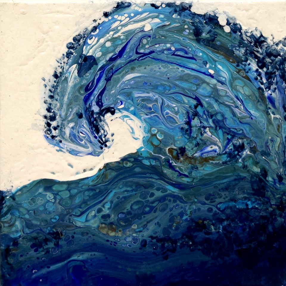 Wave1 Mixed media acrylic 25x25cm