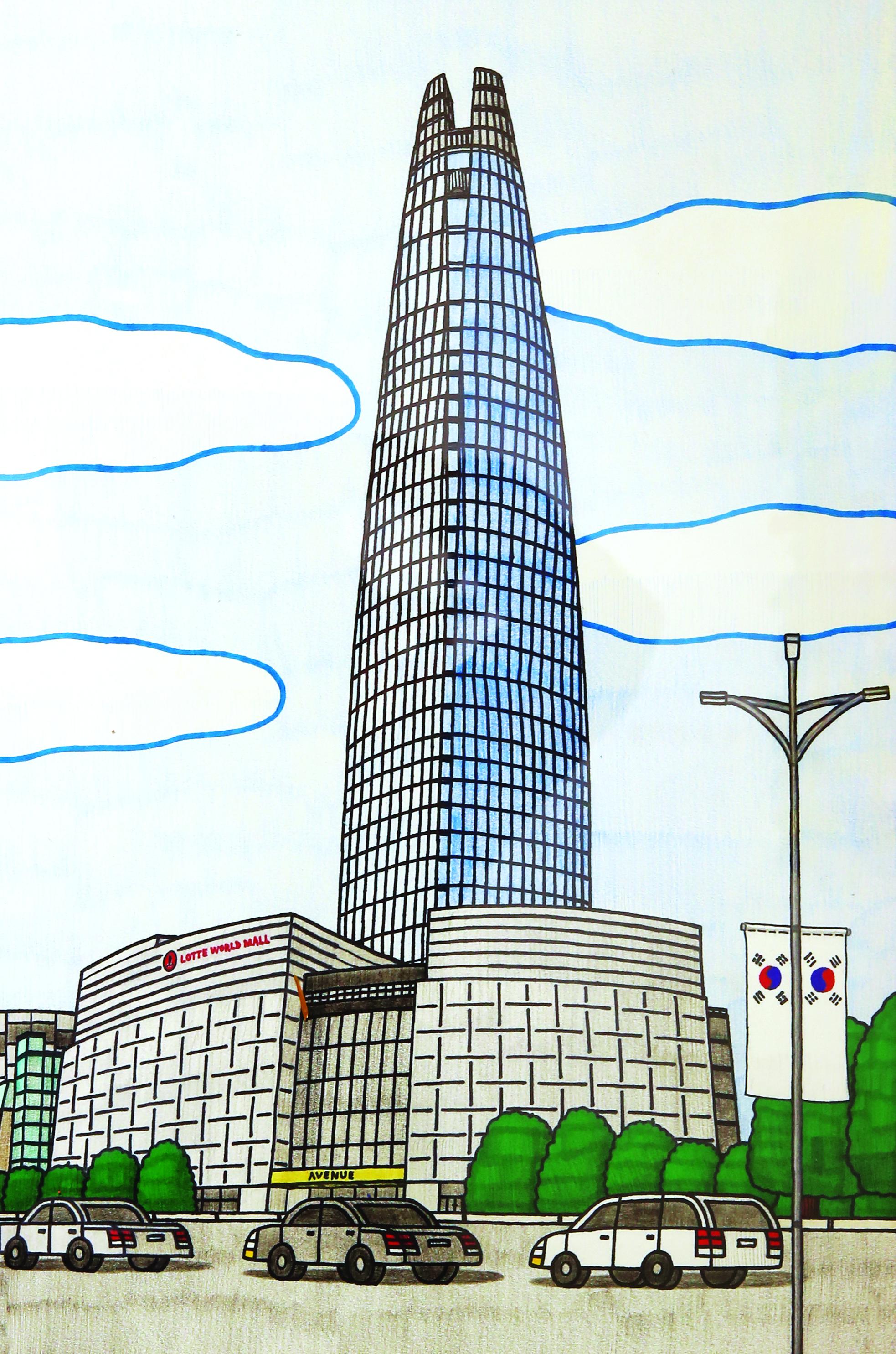 Lotte World Tower, 39.3x54.5cm, 종이에 색연필, 2018