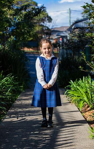 Hurstville Grove Infants School wearing girl's winter uniform