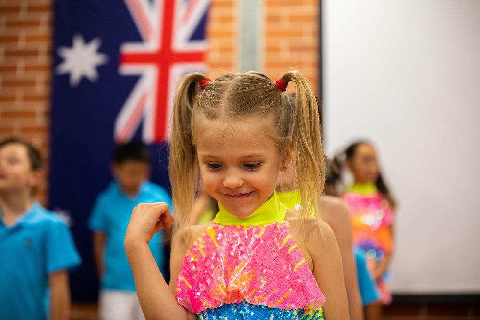 Hurstville Grove Infants School student performing a dance on Presentation Day