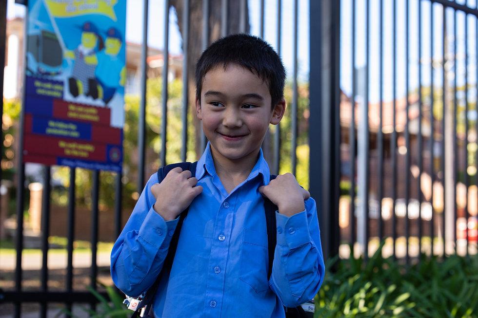 Hurstville Grove Infants School student walking into school
