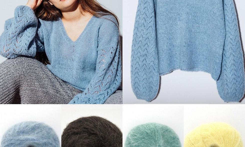 NAVIA sweater med v-hals (kit) str S