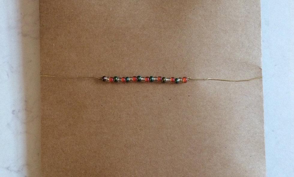 Hæklet perlearmbånd (kit) brændt orange/glas/grøn