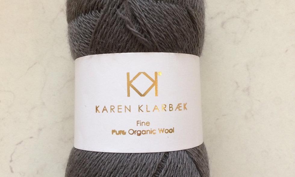 Charcoal  KK Fine Pure Organic Wool - økologisk uldgarn fra Karen Klarbæk