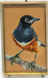 Petit oiseau bleu et orange fond saumon | 1 200 CHF (inkl. VAT)