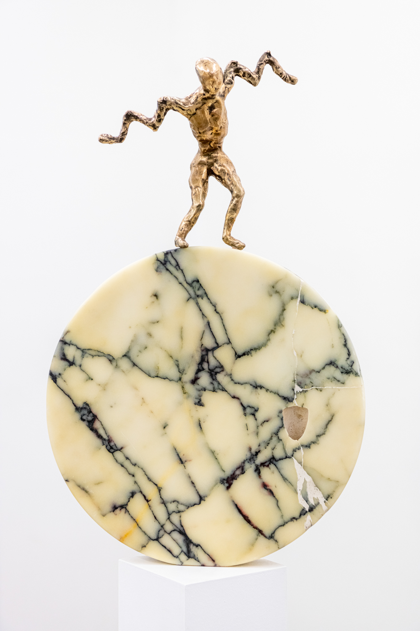 Sculpture Marble Moon with Jumper, 65 x