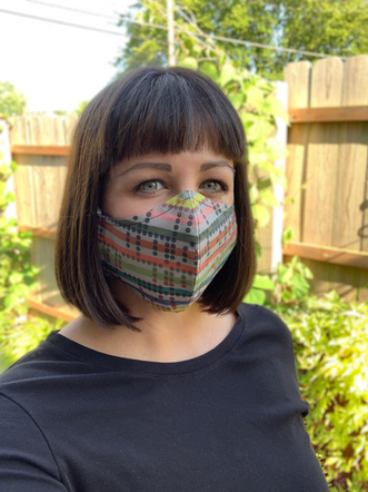 Selfie, wearing the mask pattern designed for The Mask Project for Columbus Area Arts Council