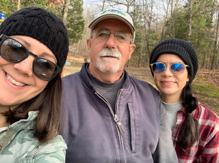 Enjoying the great outdoors with my dad and sister