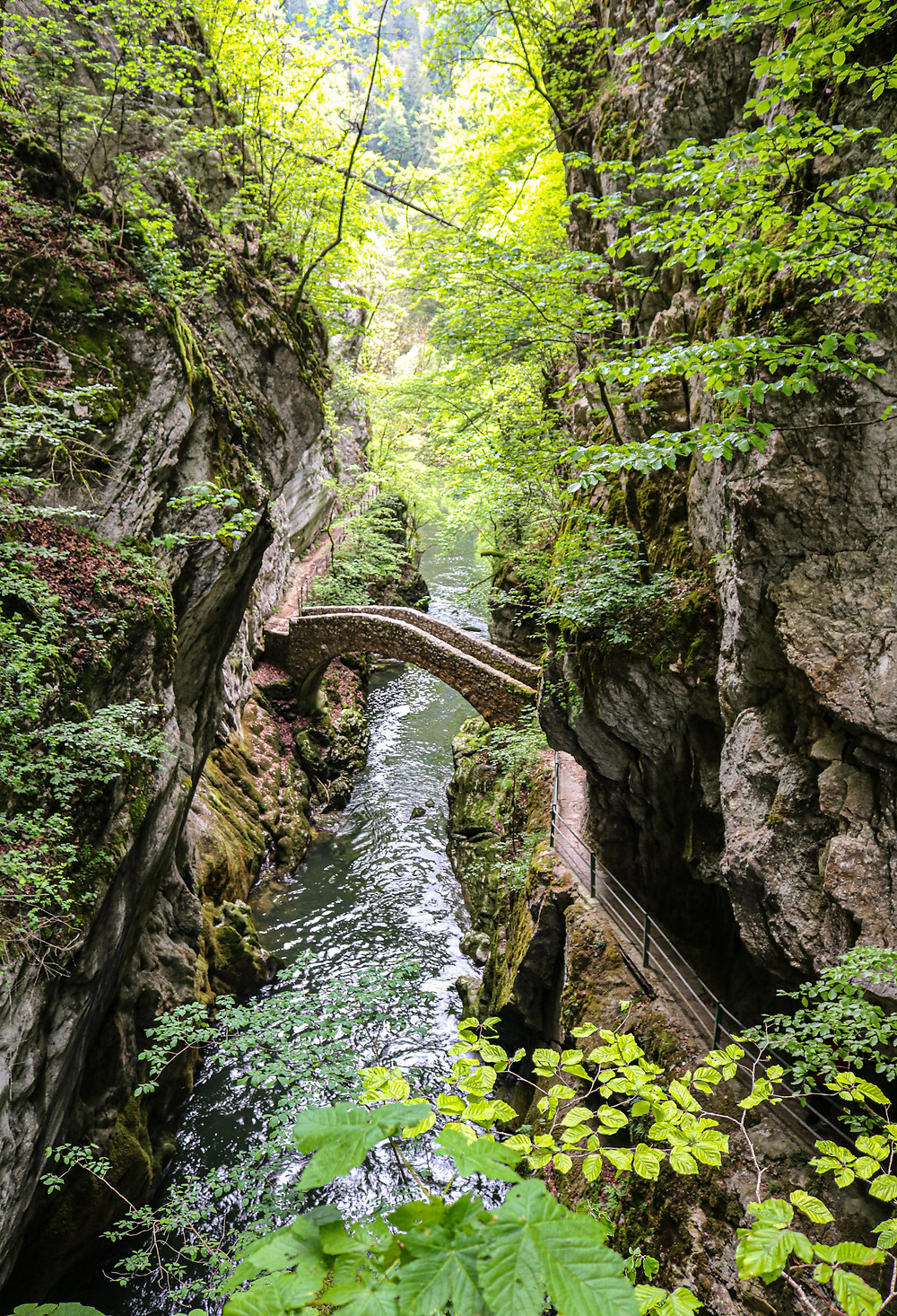 Gorges de l'Areuse stone bridge river crossing