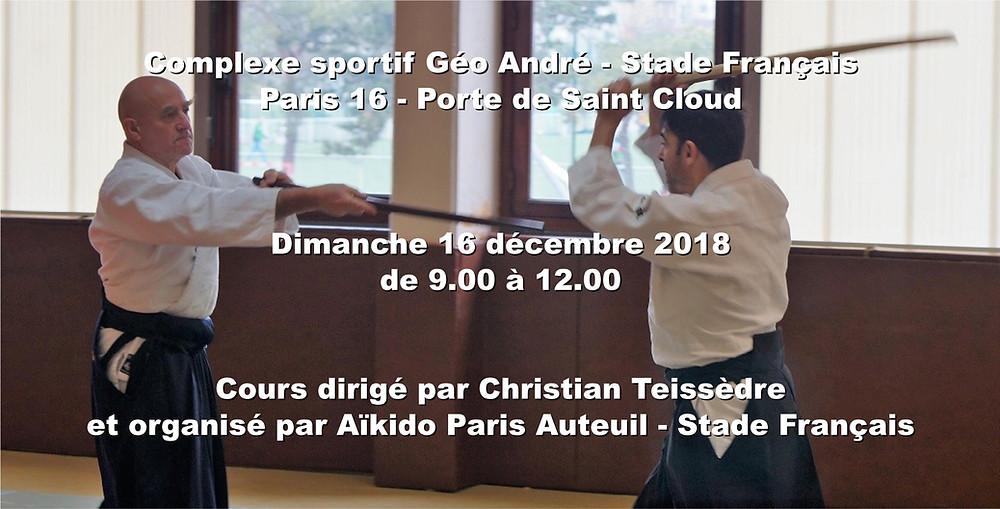 Cours gratuit d'Aïkido au Stade Français un dimanche par mois