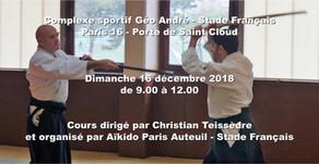 Cours d'Aïkido traditionnel au Stade Français dirigé par Christian Teissèdre le 16/12/2018 de 9.