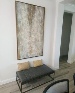Gris Y Oro wall art and bench
