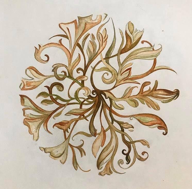 Abstract Botanical Mandala