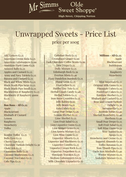Unwrapped Sweets Price List