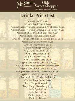 Drinks Price List