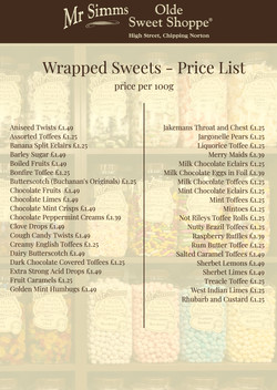 Wrapped Sweets Price List