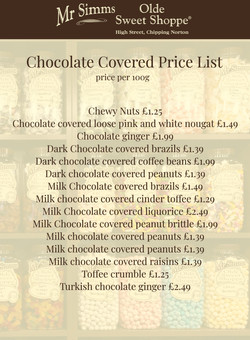 Chocolate Covered Price List