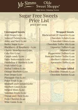 Sugar Free Price List