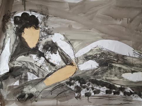 Study of woman recliining