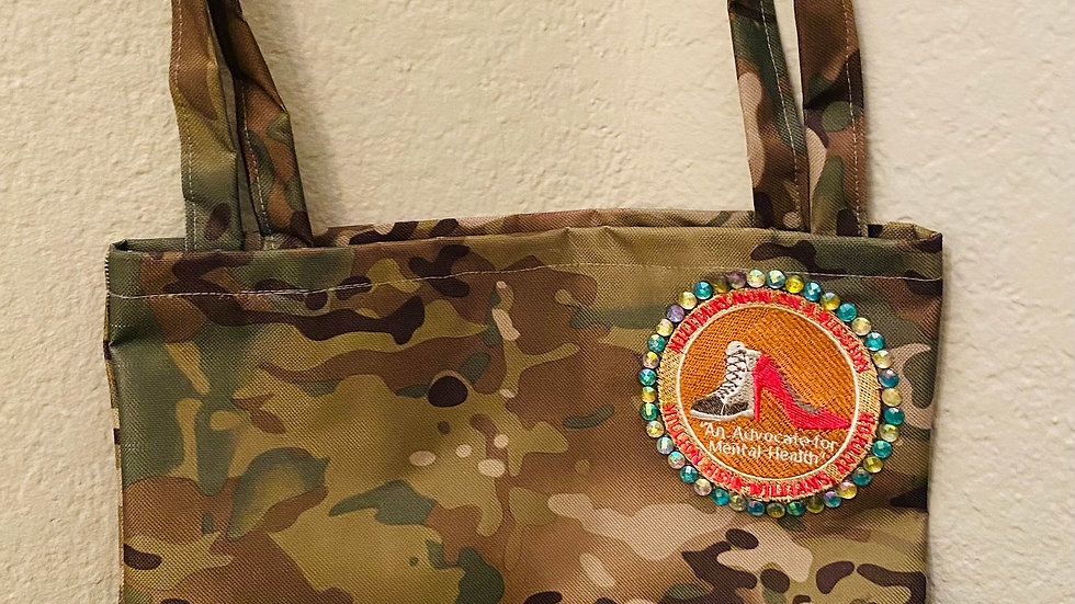 Army Camouflage Tote Bag with Bling