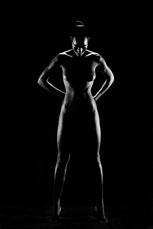 African female nude black and white photo