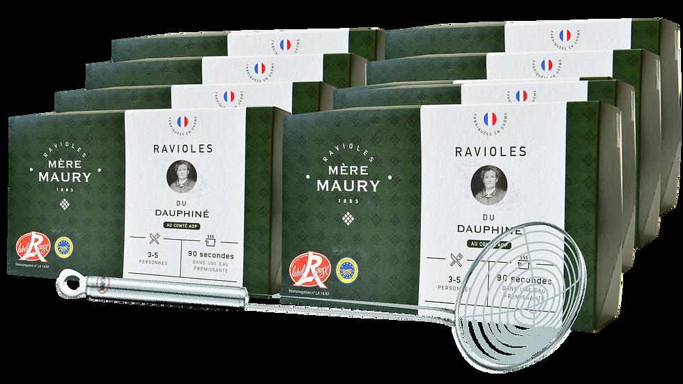 8 boites de 9 plaques de Ravioles + écumoire offerte (10,50€/boîte)
